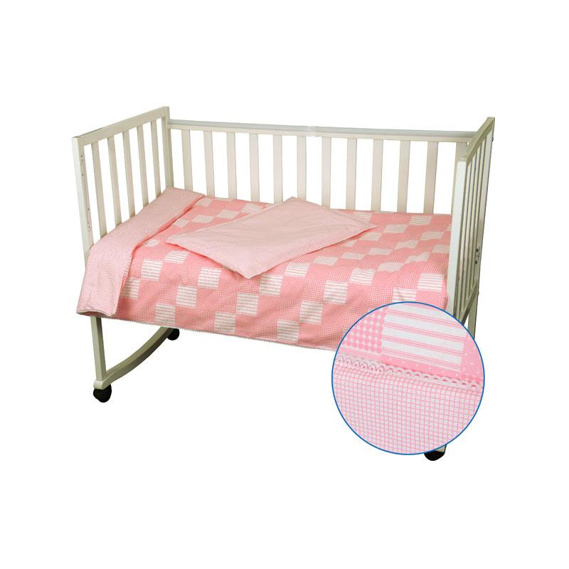 """Дитячий комплект постільної білизни """"Клітинка"""" рожевий – купити в ... a6b69f92b949f"""