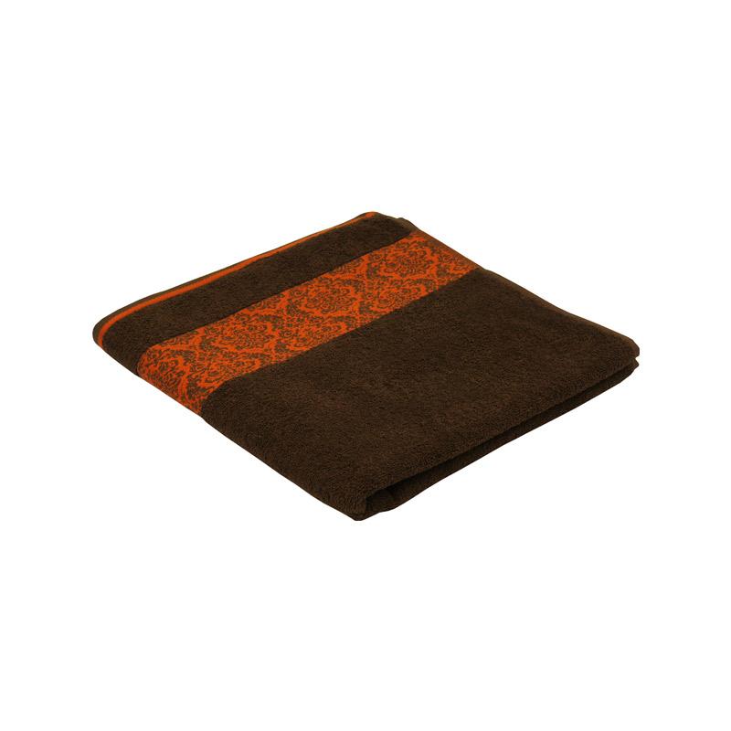 Ванна кімната - Махровий жаккардовий рушник шоколадний 70х140 см