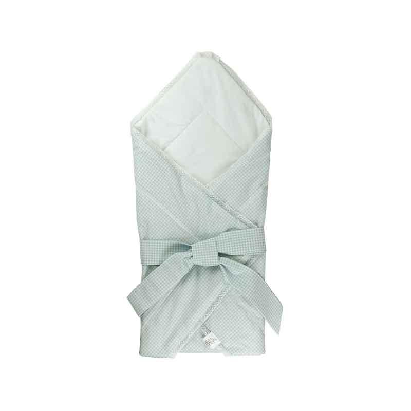 Дитяча - Бавовняна ковдра-конверт для немовлят 957ХБУ блакитна