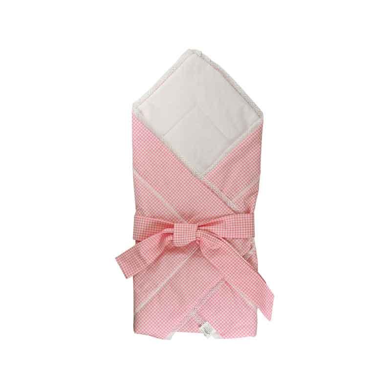 Дитяча - Бавовняна ковдра-конверт для немовлят 957ХБУ рожева